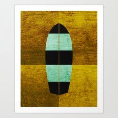 Canary/Mint Surfboard Art Print