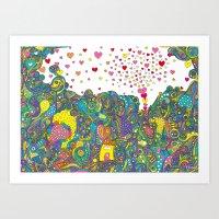 ハートのしゃぼん… Art Print