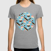 Sweet Things (on Blue) Womens Fitted Tee Tri-Grey SMALL