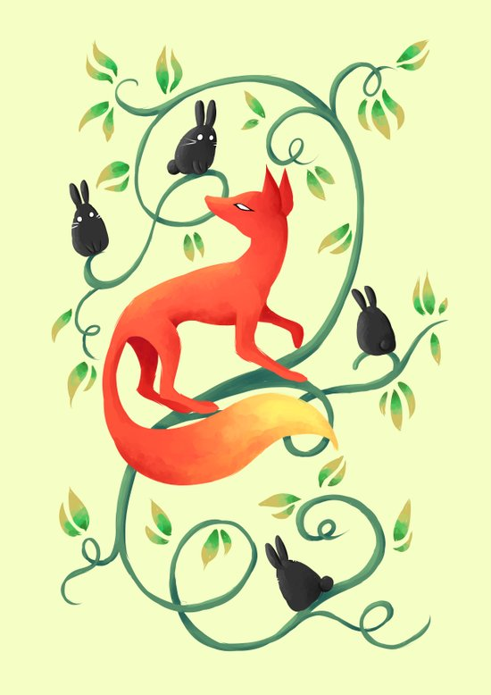 Bunnies and a Fox Art Print