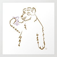 Bear & Fish Art Print