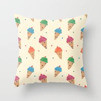 Fun Ice Cream Pattern Throw Pillow
