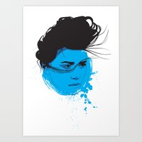 Black, Blue & White I Art Print