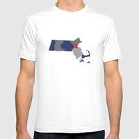 Massachusetts State Map Print Mens Fitted Tee White SMALL