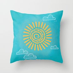 Primitive Sun (Cool Variant) Throw Pillow