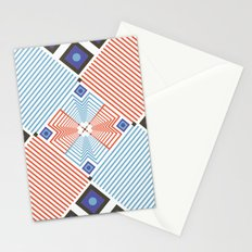 Blue red stripes Stationery Cards
