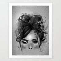 Sweet Freckles Girl Face Art Print
