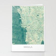 Manila Map Blue Vintage Stationery Cards