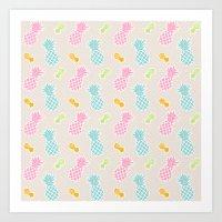 Colorful Pineapples Art Print