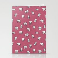 Indian Baby Elephants in Pink Stationery Cards