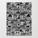 Black and White Busy Body Houses Canvas Print