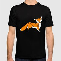 Origami Little Fox Mens Fitted Tee Black SMALL