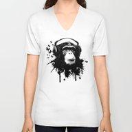 Monkey Business - White Unisex V-Neck