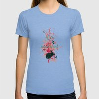 Off To Wonderland Womens Fitted Tee Tri-Blue SMALL