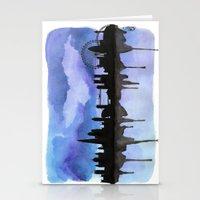 London Skyline 2 Blue Stationery Cards