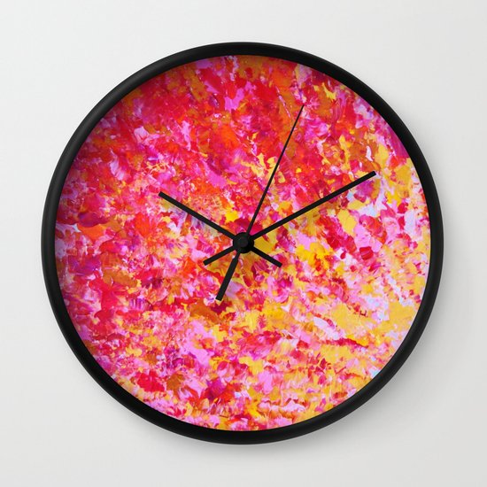 ROMANTIC DAYS - Lovely Sweet Romance, Valentine's Day Sweetheart Pink Red Abstract Acrylic Painting Wall Clock