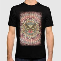 Vintage Owl Mens Fitted Tee Black SMALL