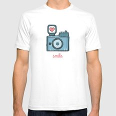 Blue Smile Mens Fitted Tee White SMALL