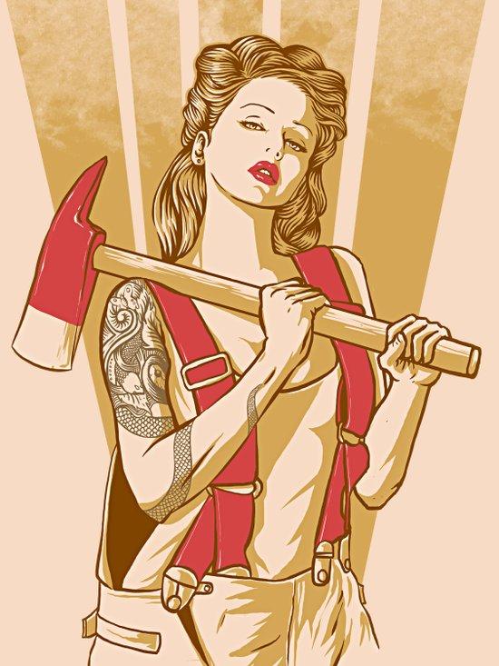 axe girl Art Print