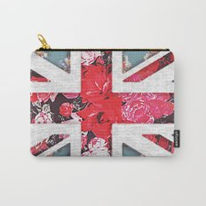 God save the Queen | Elegant girly red floral & lace Union Jack  Carry-All Pouch