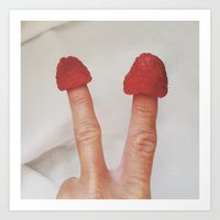 Finger Foodie Raspberries Art Print