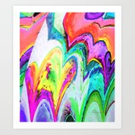 Art Print featuring Funky Watercolor Hearts by Annie Zeno