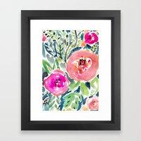 Peach Floral Framed Art Print