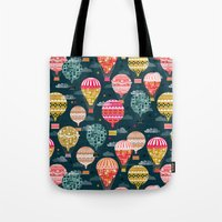 Hot Air Balloons - Retro, Vintage-inspired Print and Pattern by Andrea Lauren Tote Bag