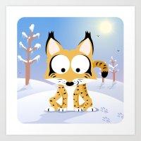 Woodland Animals Series II. Lynx Art Print