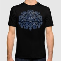 Indigo Blue Denim Ink Doodle Mens Fitted Tee Black SMALL