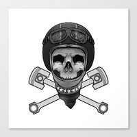 Vintage Bike Rider Canvas Print