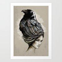 Art Print featuring Raven Haired by jewelwing