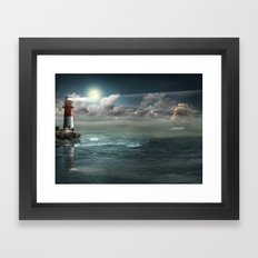 Lighthouse Under Back Li… Framed Art Print