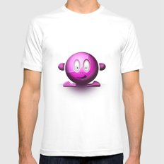 Emoticon Magenta White Mens Fitted Tee SMALL