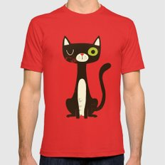 Black Cat Mens Fitted Tee Red SMALL