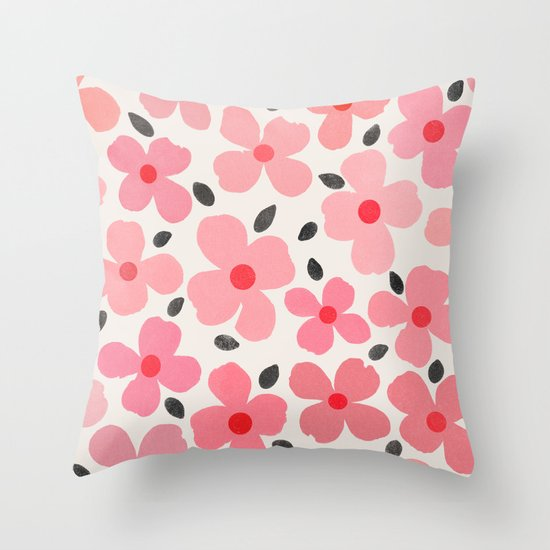 Dogwood Vintage Pink Throw Pillow