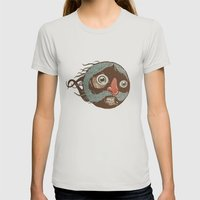 SuperMustacheMan Womens Fitted Tee Silver SMALL