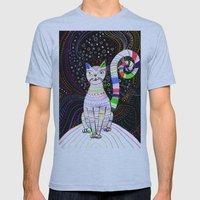Space Cat Mens Fitted Tee Athletic Blue SMALL