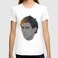 Ayrton Senna Womens Fitted Tee White SMALL