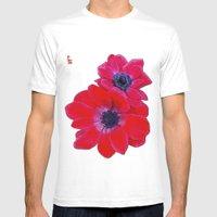 Velvet Red Poppy Anemone… Mens Fitted Tee White SMALL
