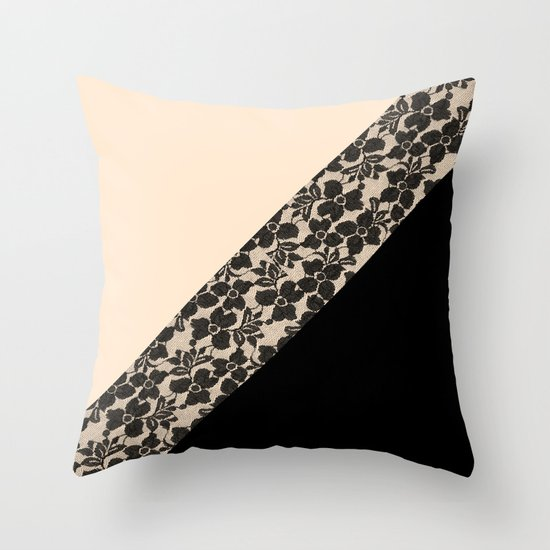 Ivory Lace Throw Pillow : Elegant Peach Ivory Black Floral Lace Color Block Throw Pillow by Girly Trend Society6