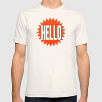 Hello Mens Fitted Tee Natural SMALL