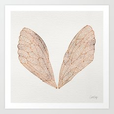 Cicada Wings In Rose Gol… Art Print