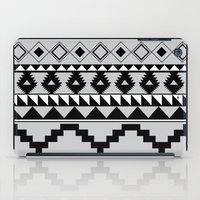 Aztec Pattern 2 Gray & Black iPad Case