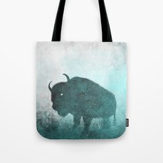 Teal Ghost: Bison Silhouette Tote Bag