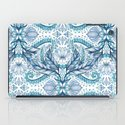 Lily, Leaf & Triangle Pattern – blues iPad Case