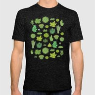 Succulents Mens Fitted Tee Tri-Black SMALL