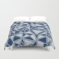Abstract Outline Lines Navy  Duvet Cover