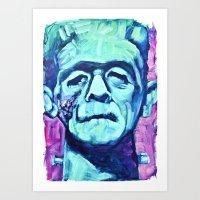 Frankenstein Halloween Z… Art Print