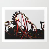 Roller Yellow Coaster Red Art Print